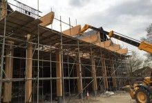 16m span European larch glulam frames recently installed by Buckland timber in Weston Super Mare