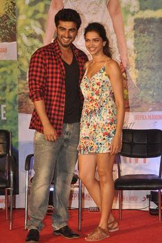Arjun Kapoor and Deepika Padukone during an event of movie Finding Fanny, held at Novotel, in Juhu. Finding Fanny, V Words, Arjun Kapoor, Times Of India, Deepika Padukone, Cute Couples, Bollywood, Celebs, Entertaining