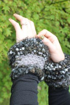 Original shorter length hand knitted wrist/ hand by Katiecuckoo, Fingerless Gloves, Arm Warmers, Hand Knitting, All Things, The Originals, Handmade, Stuff To Buy, Fingerless Mitts, Hand Weaving