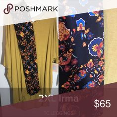 Lularoe 2x mustard Irma TC black Paisley leggings Lularoe outfit new with tags. I do not accept returns for color discrepancies. I'm not a crayola expert or a professional photographer. I do know how to match and put cute outfits together though so rest assured that you will be wearing your lula in style! Both items are brand new. Leggings don't come with tags attached and patterns may not be identical on both legs. All other items will have tags attached. I charge retail and will block all…