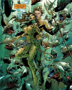 """""""They told you my story, didn't they Diana?"""" Aquaman and Cheetah by Tony Daniel"""