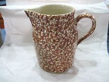 Henn Pottery BROWN SPONGEWARE PITCHER   UNUSED
