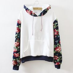 White Hoodie with Rose Print