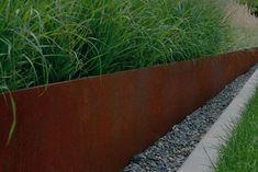 CorTen Steel Edging · Durable Rustic Garden Edging Buy CorTen Steel Edging from Buy Metal Online. Metal Garden Edging, Steel Edging, Garden Borders, Steel Landscape Edging, Landscape Grasses, Garden Border Edging, Grass Edging, Steel Retaining Wall, Retaining Walls