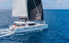 """With its diamond-shaped vertical bows, bevelled hulls, its as if levitated deckhouse and tall rig, the Lagoon 52 is no ordinary catamaran, but its originality goes a great deal further than just its """"outer"""" appearance, or even its interior layout."""