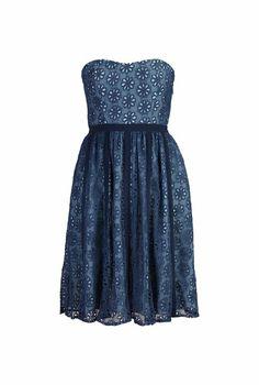 eShakti Floral eyelet lace strapless dress