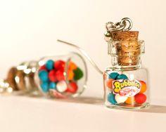 Polymer clay kawaii earrings gum balls bottle jar