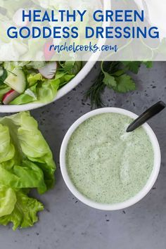 You'll love yogurt-based healthy green goddess dressing, packed with fresh tarragon, parsley, chives, and dill. So fresh and beautiful, it's great for salads or as a dip. Homemade Dressing Recipe, Green Goddess Salad Dressing, Homemade French Fries, Rabbit Eating, Simple Green Salad, Vegetarian Tacos, Healthy Snacks, Healthy Recipes, Bariatric Recipes