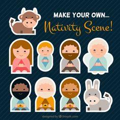 Nativity Scene Wohnung Icons Kostenlose Vektoren