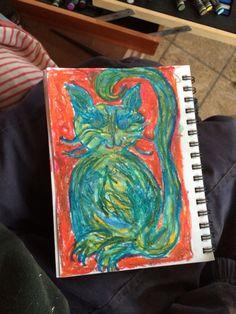 Fine art pop-impressionism oil pastels by Julie Hollis resident artist @ Fall Creek Gallery #fallcreekgallery #pastels #artist #popimpressionism #juliehollis #kitty