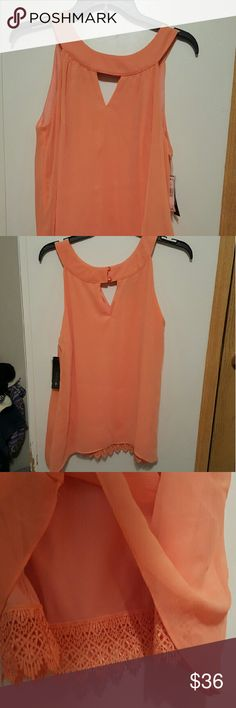AB Studio- Apricot Blouse -New with tags -beautiful and light tank blouse in Apricot. -has two layers -size medium AB Studio Tops Blouses