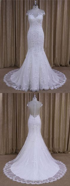 Trumpet/Mermaid Wedding Dresses White, Trendy Scoop Neck Tulle Bridal Dresses Lace, Country Wedding Dresses Modest
