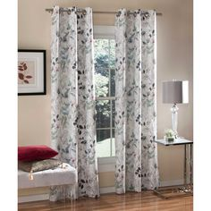 M.style™ Sketchbook Floral 84-Inch Grommet Top Window Curtain Panel Pair