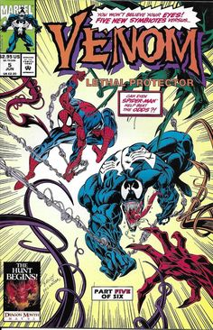 This is my first comic Venom Lethal Protector 5 June 1993 Issue Marvel by ViewObscura Old Comic Books, Marvel Comic Books, Comic Book Artists, Comic Book Covers, Comic Book Characters, Comic Character, Marvel Comics, Venom Comics, Marvel Venom