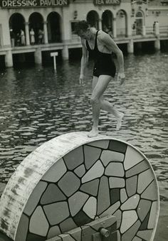 Vintage Photograph 1930s: Summer time fun • Tipping wheel, Manly Harbour pool 1930s • Manly, New South Wales, Australia