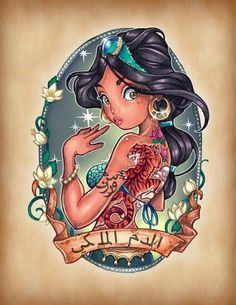 Disney Pin Up Tattoos I am a big fan of Tattoos and these designs are amazing! Tim Shumate has turned well known Disney Princesses in. Vintage Tattoo, Tim Shumate, Jasmine Tattoo, Disney Princess Tattoo, Disney Characters, Shumate, Disney Art, Disney Tattoos, Cartoon