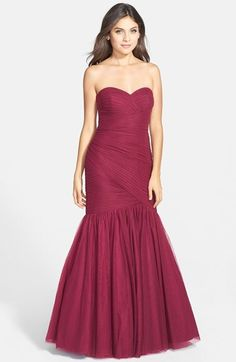 JS Collections Ruched Sweetheart Mermaid Gown #pink #red #fuchsia #mermaid #gown #bridesmaid #bridesmaids #dress #fashion