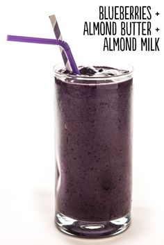 How to: Place ¾ cup frozen blueberries, 1 tablespoon almond butter, and ½ cup unsweetened almond milk into a blender. Blend until smooth. Serves 1. Extras: Add 2 tablespoons unsweetened, shredded coconut, a peeled frozen banana, 1 teaspoon pure vanilla extract, 2 tablespoons rolled oats, ½-inch piece peeled, fresh ginger, or 2 tablespoons flax meal.