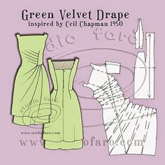Green Velvet Drape - A homage to Ceil Chapman 1950 Over a year ago I found the image of this amazing vintage dress on Pinterest, compliments of Mill Street Vintage. Unfortunately (for us) it has been