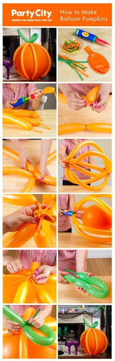 How to make boo-tiful balloon pumpkins, perfect for a kids Halloween party! Our pictorial tutorial makes it easy.