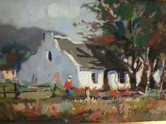 House In Woods Against Mountains - Marais Wessel Artist Paint, Art Gallery, African, Landscape Paintings, Cityscape, Upcoming Artists, Art, Impressionist, South African Artists