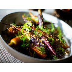 """""""Need inspiration for your Thanksgiving dinnertable? @ChefHawksworth has prepared a recipe of heirloom carrots with jalapeño and sumac yogurt for…"""""""