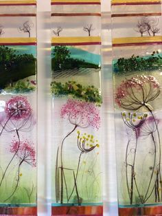 Summer Seed fused glass panels inspired by the Surrey Hills,Alison Bournes