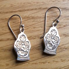 Sterling Silver Russian Doll earrings - available online at www.perujewellery.co.uk - just £18
