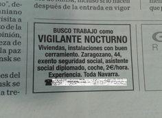 Se ofrece vigilante nocturno por dos euros/hora.