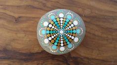 Mandala turquise gold handpainted stone natural
