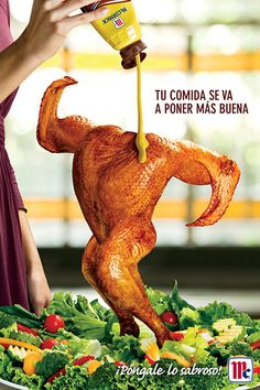 The Print Ad titled McCormick: Chicken was done by Publicidad Augusto Elias advertising agency for Mccormick in Mexico. Clever Advertising, Print Advertising, Print Ads, Funny Commercials, Funny Ads, Food Graphic Design, Ad Design, Ads Creative, Advertising Photography