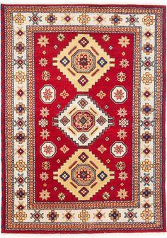 Royal Kazak Hand-Knotted Cream/Dark Burgundy Area Rug