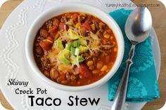 Skinny Crock Pot Taco Stew - seriously easy crock pot dinner! (recipe: Yummy-Healthy-Easy)