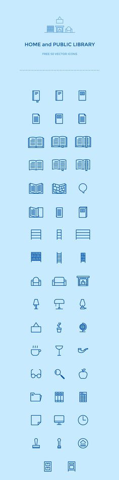 Here's an original set of 50 home and public library icons to add to your resource collection. This is 50 Free Library Icons created by Grzegorz Teszbir.