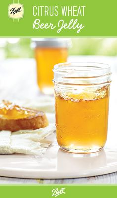 A subtle beer background in this bold citrus jelly makes for a unique, delectable spread. Jelly Recipes, Beer Recipes, Canning Recipes, Beer Jelly Recipe, Wine Jelly, Jam And Jelly, Jar Of Jam, Canned Food Storage, Christmas Food Gifts