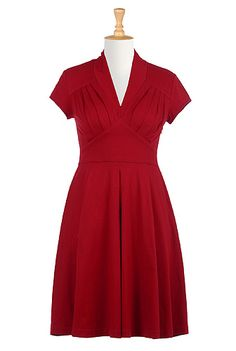 Love the tailoring on this dress, also can adjust sleeve and hem length when ordering! MDW Feminine pleated cotton knit dress from eShakti