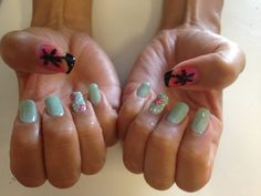 Beach Nails Starfish Palm Tree with Sunset Gel Polish and Regular Polish on Natural Nails By Jade Phuong's Nail Artist Team at Blackhawk Nail and Spa
