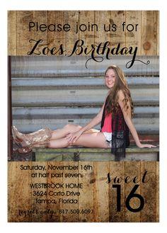 Western Sweet 16 Party Invitation | Polka Dot Design