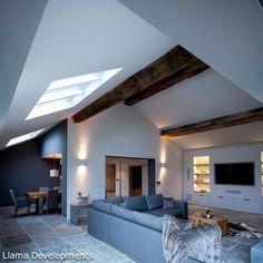 Barn Living, Home Living Room, Living Room Designs, Living Spaces, Modern Barn House, Timber House, Modern House Design, Living Room Manchester, Manchester Uk