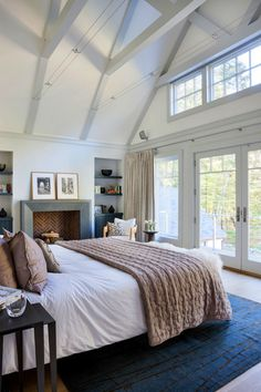 Exposed beams & white walls