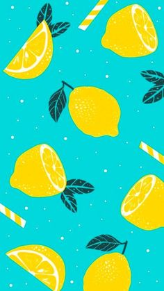 Patterns sliced-lemons-yellow-white-striped-straws-drawing-summer-wallpaper-blue-background