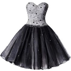 Ivydressing Sequined Little Black Dress Sweetheart Organza Prom... ($95) ❤ liked on Polyvore featuring dresses, gowns, sequin dress, prom ball gowns, homecoming dresses, prom dresses and sequin homecoming dresses