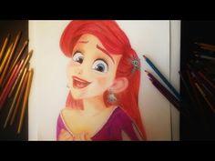 Pencil Drawings, Art Drawings, Princess Drawings, Ariel Disney, Disney Princess, Ariel The Little Mermaid, Drawing Ariel, Colored Pencils, Disney Characters