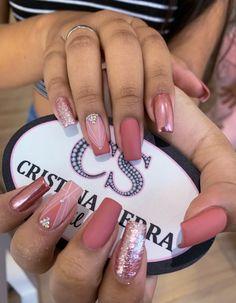 Mauve Nails, Coral Nails, Rose Gold Nails, Pastel Nails, Bling Nail Art, Bling Nails, My Nails, Elegant Nails, Classy Nails