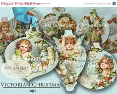Instant Download!!    - - - - - - - - - - - - - - - - - - - - - - - - - - - - - - - - - - Mix of TAGS Digital Collage with vintage winter and