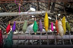 Inside the old mill, located in Tal-y-bont, near Aberystwyth, where hundreds of coloured yarns remain after the premises were abandoned in November 1980