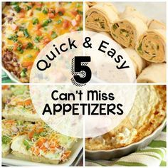 Quick and Easy Appetizers - Five highly recommended appetizer recipes people love!