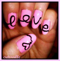 love nail art  #valentine #heart #nails  Painted my sisters nails just like this! @Lindsay Dillon