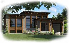 Modern House Plan 90267PD - 2 bed modern with optional 1-car garage  2 beds 1 bath 1,900+ sq. ft.
