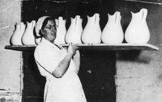 Pountney & Co. Ltd Fishponds - glazed-jugs ready for the oven 1945 Fish Ponds, Delft, Bristol, Oven, Pottery, History, Painting, Vintage, Art